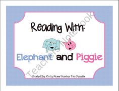 Elephant And Piggy Pack from Number Two Pencils on TeachersNotebook.com (35 pages)  - This Elephant and Piggie Series pack is a great way to supplement an exploration of the Elephant and Piggie series by Mo Willems. Your students will fall in love with these characters as they build their reading skills.