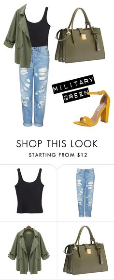 """""""Military Green-Mid 20s"""" by lovefashionxxxxxx on Polyvore featuring Monki, Topshop, Miu Miu and Steve Madden"""