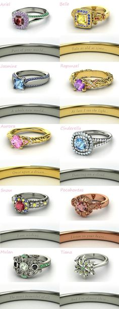 These Disney princess inspired rings are so pretty! I love how the gems and metals go with the princess' color scheme. And I also love that they have little quotes engraved inside the band.