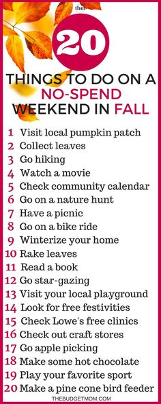 I LOVE the free printable! It& so pretty! I have been looking for a list of free activities to do this Fall. I might have that no-spend weekend after all. I love the idea of going to Lowes free clinics. This is a great list of Fall activities that t