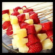 easy pineapple and strawberry skewers