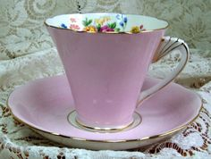 Tea Cup  and saucer  - Grafton China Made in England - Gorgeous Pinks with florals. $13.99, via Etsy.