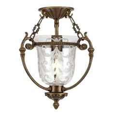 """Brass Finish Etched Glass 11"""" Wide Ceiling Light Fixture"""