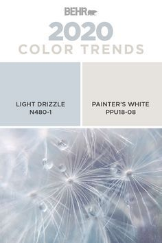 Theres just something about the combination of pastel shades with classic neutral tones. Thats why were loving this combination of Light Drizzle and Painters White from the new BEHR 2020 Color Trends Palette. Click below to see more trending paint hues. Indoor Paint Colors, Pastel Paint Colors, Behr Paint Colors, Paint Color Palettes, Bathroom Paint Colors, Interior Paint Colors, Paint Colors For Living Room, Paint Colors For Home, Bedroom Colors