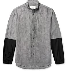 <a href='http://www.mrporter.com/mens/Designers/Public_School'>Public School</a>'s shirt captures the label's sophisticated street-style aesthetic. Cut from lightweight linen-blend, it boasts a micro-check pattern and has crisp poplin-trimmed sleeves that create a layered look. The grandad collar and mother-of-pearl buttons add a refined finish.