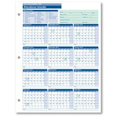 employee attendance calendar excel template - Google Search ...
