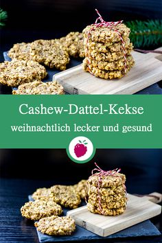 Weihnachtliche Cashew-Dattel-Kekse Christmas cashew date biscuits without sugar. Healthy, vegan, gluten-free and juicy delicious. Cookies Healthy, Healthy Cookie Recipes, Gluten Free Cookies, Healthy Desserts, Paleo Dessert, Dessert Recipes, Date Cookies, Breakfast Biscuits, Vegans