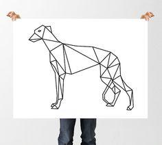 Geometric Greyhound Print, Low Poly, Digital Art, Italian Greyhound, Black and White Print, Home Decor, Dog Print, gift for Dog Lover