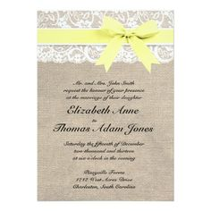 This custom wedding invitation is the perfect combination of traditional and trendy. The burlap-look background is perfect for a rustic or vintage themed wedding and the lace-look accent adds a classic, romantic touch. Coordinates with full collection of matching Save the Dates, RSVP cards, custom postage, and more! Email me for custom colors! NOTE - This is a high-quality image of burlap, lace, & ribbon; this invitation does not contain actual burlap, lace, or ribbon. Thanks!