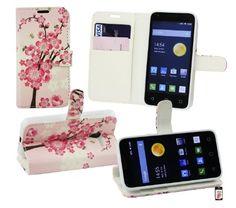 Emartbuy® Alcatel One Touch Pixi 3 ( 4.5 ) Premium PU Cuero Funda Wallet Soporte Carcasa Case Cover PU Cuero Rosa Blossom con Tarjeta de Crédito Slots