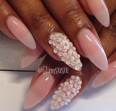 3d nail design / pretty nails stiletto nails / pointy nails / oval nails polish rhinestones55