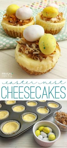These mini cheesecakes are so delicious and make the most adorable Easter Food Crafts.  Easter Nest Cheesecakes Recipe on Frugal Coupon Living.