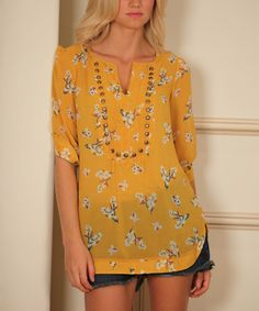 Yellow & White Floral Embellished Notch-Neck Top by Angie Apparel #zulily #zulilyfinds