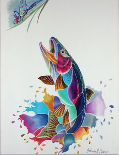 Scribble Trout Painting Anderson R Moore