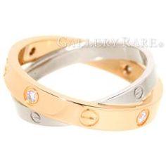 カルティエ リング ビーラブリング 6Pダイヤ K18PGピンクゴールド K18WGホワイトゴールド ダイヤモンド リングサイズ54 B4094300 Cartier ジュエリー 指輪 ダイアモンド