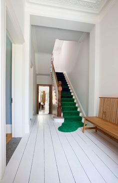 Ballsbridge House Renovating the Victorian House to Modern House : Green Carpet White Stairs Wooden Benches White Wooden Floor