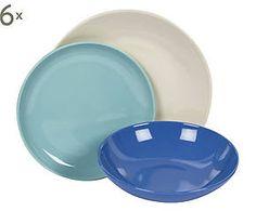 Servizio di piatti in gres blu, azzurro e avorio - 18 pezzi
