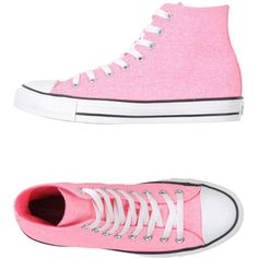 Converse All Star High-tops & Trainers ($85) ❤ liked on Polyvore featuring shoes, sneakers, converse, pink, neon pink high tops, pink flat shoes, hi tops, flat sneakers and neon high tops