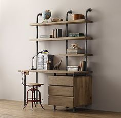 RH Baby & Child's Industrial Pipe Single Desk & Shelving with Drawers:Sturdy steel pipes and matching cast fittings serve as the structure for our hardworking pieces, while warm wood planks provide support for books and a workspace for the industrious.
