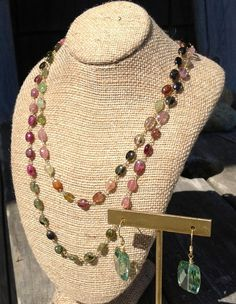 Multi color tourmaline hand wire wrapped by KMCJewelryDesigns, $175.00