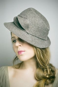 40s Style Hat in Fawn Wool Felt by MaggieMowbrayHats on Etsy