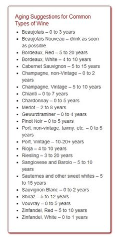 Vintage Wine Aging Suggestions for Common Types of Wine Guide Vin, Wine Guide, Wine Tasting Party, Wine Parties, Wine Cocktails, Sangria, Wine Facts, Wine Vineyards, Wine Education