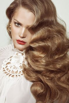 Light caramel brunette. Gorgeous coloring. Old hollywood glam hair.
