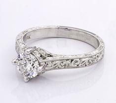 Antique Style Engagement Rings, Celtic Engagement Rings, Filigree Engagement Ring, Antique Wedding Rings, Engagement Sets, Solitaire Engagement, James Allen Rings, Light Wedding, Ring Settings