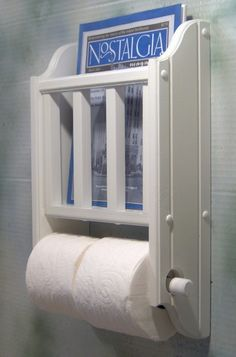 White Magazine Rack with Toilet Paper Holder