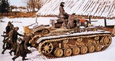 A Russian winter: German panzer III is advancing.
