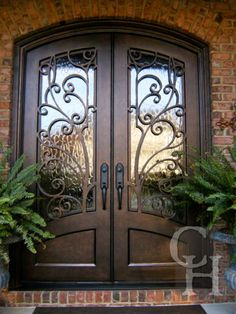 New wrought iron front door entrance Ideas Double Front Entry Doors, Iron Front Door, Front Door Entrance, Door Entryway, House Entrance, Grand Entrance, Doorway, Unique Front Doors, Entryway Ideas
