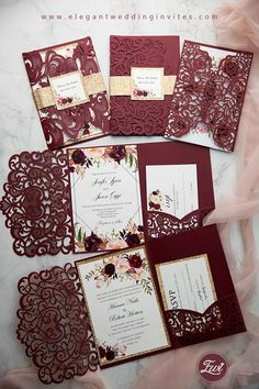 Beautiful Burgundy Laser Cut Wedding Invitations for Fall Winter Weddings invitations burgundy Affordable Red and Burgundy Wedding Invitations from EWI Burgundy Wedding Invitations, Country Wedding Invitations, Laser Cut Wedding Invitations, Elegant Wedding Invitations, Wedding Invitation Cards, Wedding Cards, Diy Wedding, Invitation Ideas, Wedding Ideas