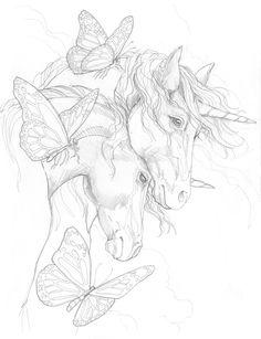 Bergsma Gallery Press::Paintings::Originals::Original Sketches::2014/Unicorns - Original Sketch