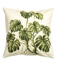 CONSCIOUS. Cushion cover in woven organic cotton fabric with a printed motif. Solid-color backing. Concealed zip. Size 20 x 20 in.