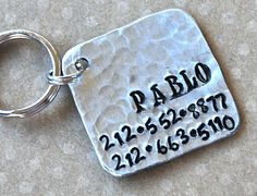 Items similar to Pet id tag Pablo Square NEW FONT Wackadoodle on Etsy Different Dogs, Custom Tags, Creature Comforts, Pet Id Tags, New Fonts, Dog Names, Handmade Accessories, Metal Stamping, Hand Stamped