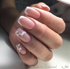 Accurate nails Classic nails ideas French manicure ideas french manicure with a flower Long french manicure Nails for wedding dress Wedding nails ideas White French nails Bridal Nails French, French Manicure Nails, French Manicure Designs, Best Nail Art Designs, French Tip Nails, Gel Nails, Acrylic Nails, Manicure Ideas, French Tips