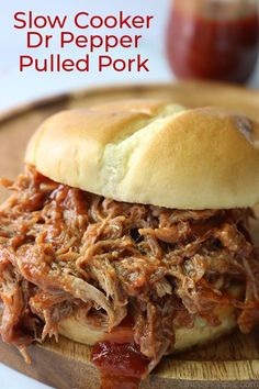 Dr. Pepper Slow Cooker Pulled Pork is so easy to make. With just a few minutes of prep and a couple of ingredients, you can have dinner in the Crock-Pot. The results are a delicious, flavorful, and tender pork butt that shreds perfectly for sandwiches. The addition of a simple Dr. Pepper infused BBQ sauce is one that everyone loves. Dr Pepper Pulled Pork, Slow Cooked Pulled Pork, Pulled Pork Recipes, Slow Cooker Pork, Slow Cooker Recipes, Cooking Recipes, Crockpot Recipes, Cooking Ideas, Sandwiches