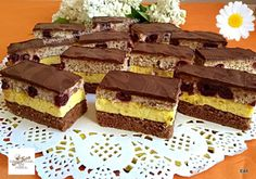 Fantázia szelet Dessert Bars, Dessert Recipes, Torte Cake, Hungarian Recipes, Recipe Collection, Cake Cookies, Muffin, Food And Drink, Sweets