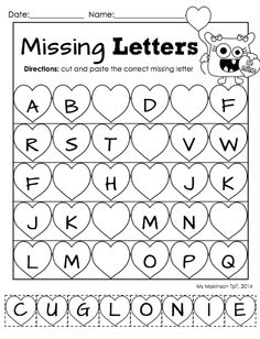 """February Printable Packet - Kindergarten Literacy and Math. Missing letter """"cut and paste"""" worksheet for Valentine's Day."""