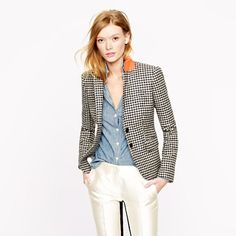 Collection schoolboy blazer in houndstooth wool. Hope to add this pretty to my blazer collection in the near future. J Crew Outfits, Blazer Outfits, Casual Blazer, Tweed Blazer, Blazers For Women, Jackets For Women, Women's Blazers, J Crew Style, Outfits