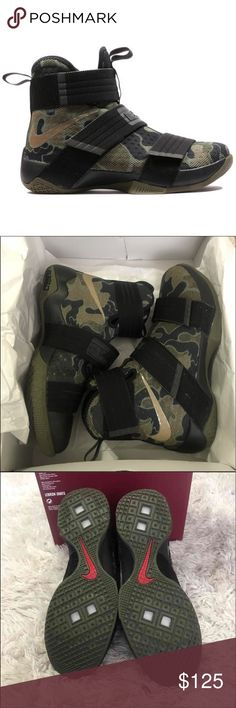Lebron soldier 10 sfg camo Lebron James shoes , 100% authentic. Rare color and in really good condition. Selling for my brother so give me time to answer if you make an offer. These will come with the box Jordan Shoes Sneakers