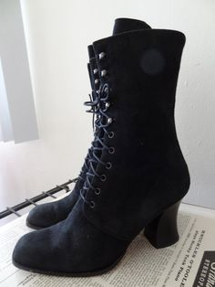 $35 Victorian Black Suede LaceUp Boots