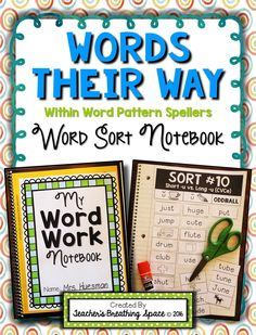 Words Their Way — Within Word Pattern Sorts — Word Sorting Notebook Words Their Way — Within Word Pattern Spellers — Word Sorting Notebook. Includes sorting materials for all 50 sorts in the yellow Words Their Way workbook. Words Their Way Sorts, Word Sorts, Teaching Letter Recognition, Teaching Letters, Word Study Activities, Spelling Activities, 4th Grade Writing, 3rd Grade Reading, Grade Spelling