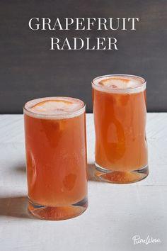 The Grapefruit Radler beer cocktail, made with grapefruit juice, sugar, Blue Moon beer.