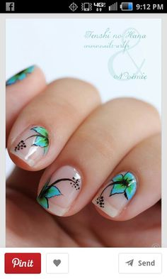 """I don't usually like nail art much, but this is really pretty. --""""Natural Nails with """"off the page"""" hibiscus floral design. Fancy Nails, Love Nails, Pretty Nails, Nail Art Designs, Nail Designs Spring, Spring Nails, Summer Nails, Tropical Flower Nails, Nailart"""