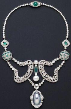 Cartier - Collier - Platine, Diamants et Emeraudes