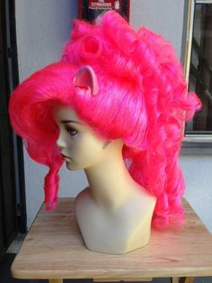 SALE Pinkie Pie Hot Pink Mohawk Costume Wig with Ears My Little Pony Friendship is Magic