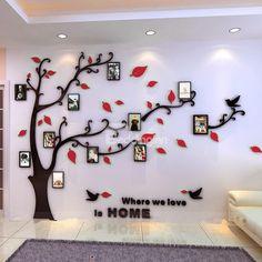 Creative Acrylic Tree Photo Frame Waterproof Three-dimensional Decorative 3D Wall Stickers