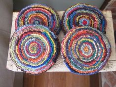 Spiral hooked rug (trivet?)                Chair cushion/pads, silly!