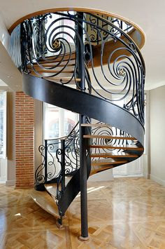 Katydidandkid products outdoor spiral stairs that are the very best balance of layout and likewise strength with individualized surfaces as well as format alternatives. Staircase Handrail, Stair Railing Design, Grand Staircase, Spiral Staircase, Staircases, Balustrade Inox, Parquet Versailles, Modern Furniture, Furniture Design